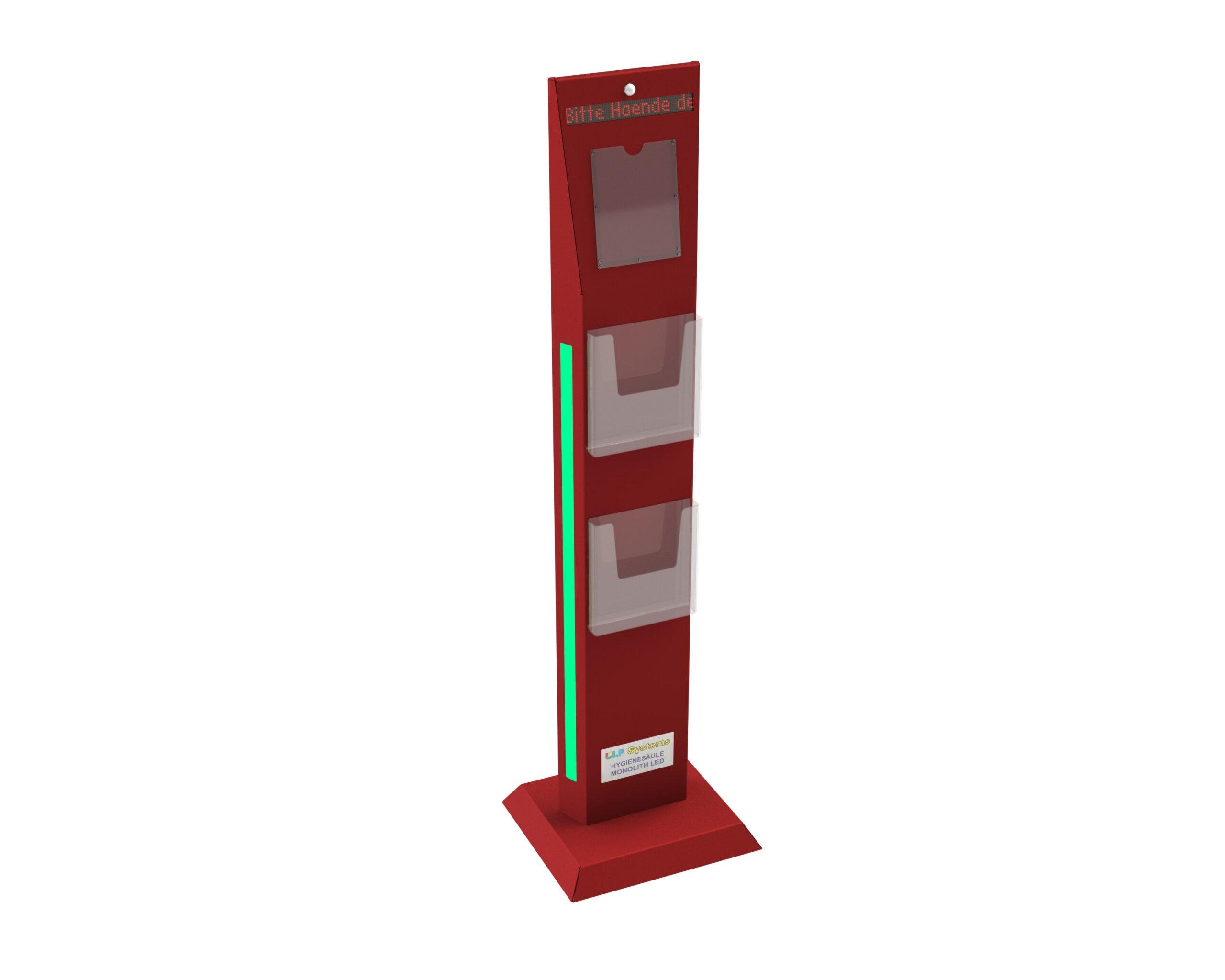 Hygienesaeule-Monolith-LED-2-Prospekthalter-vorne