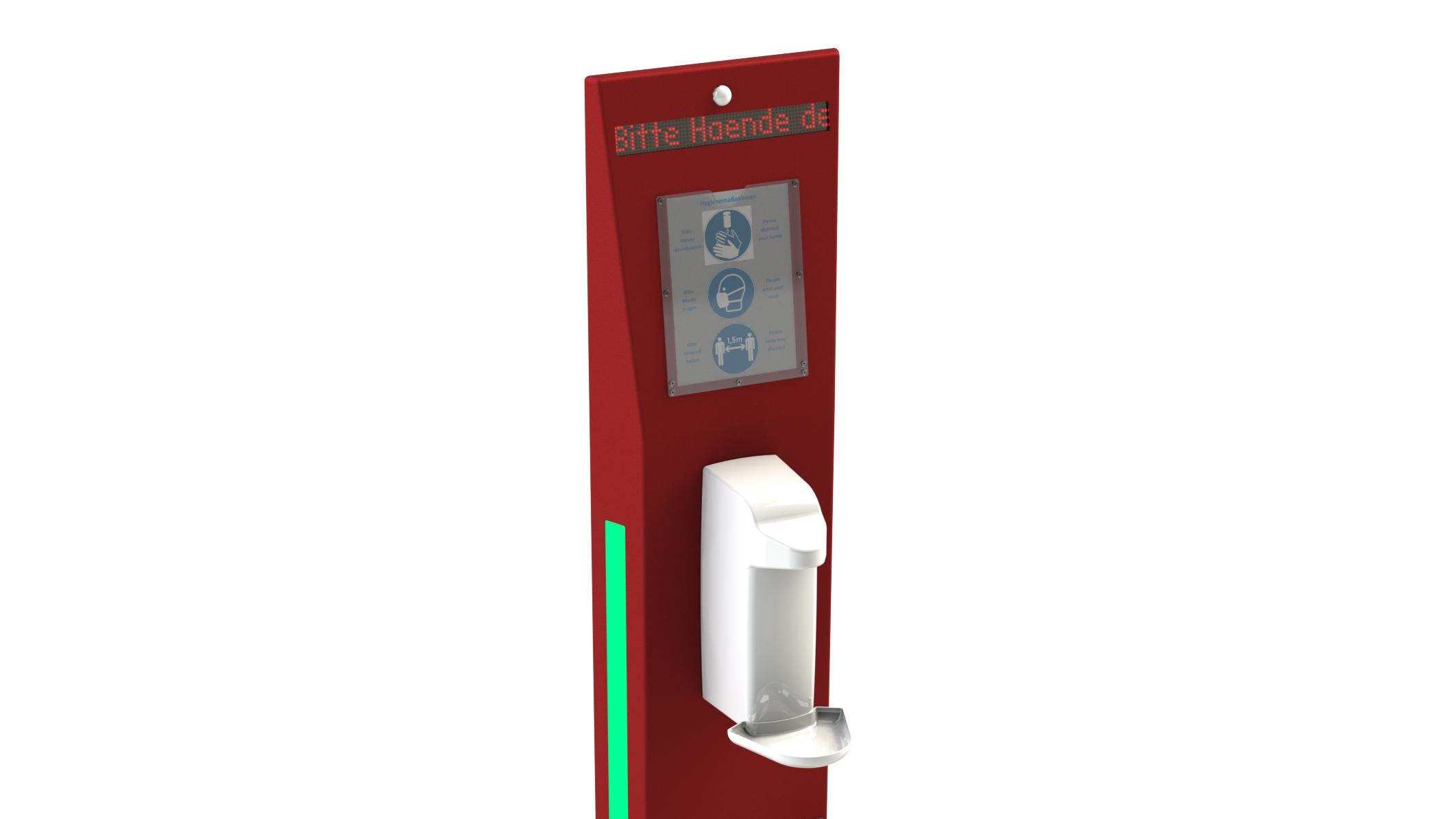 Hygienesaeule-Monolith-LED-Streifen-Sensorspender-Infotafel-Anzeigetafel-Bewegungssensor