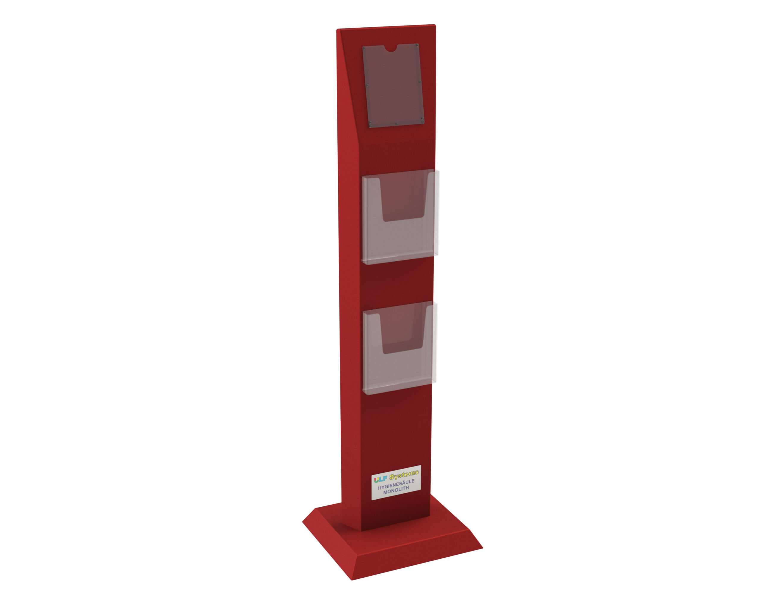 Hygienesaeule-Monolith-TRAPEZ-2-Prospekthalter-Vorderseite