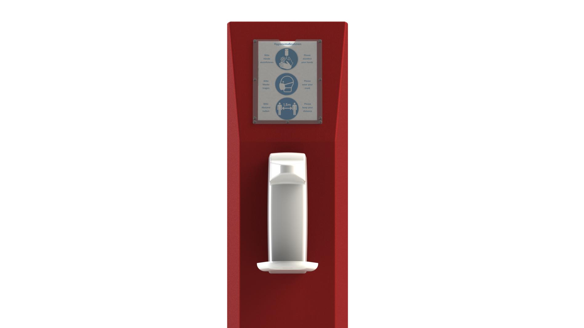 Hygienesaeule-Monolith-Trapez-Sensorspender-Infotafel