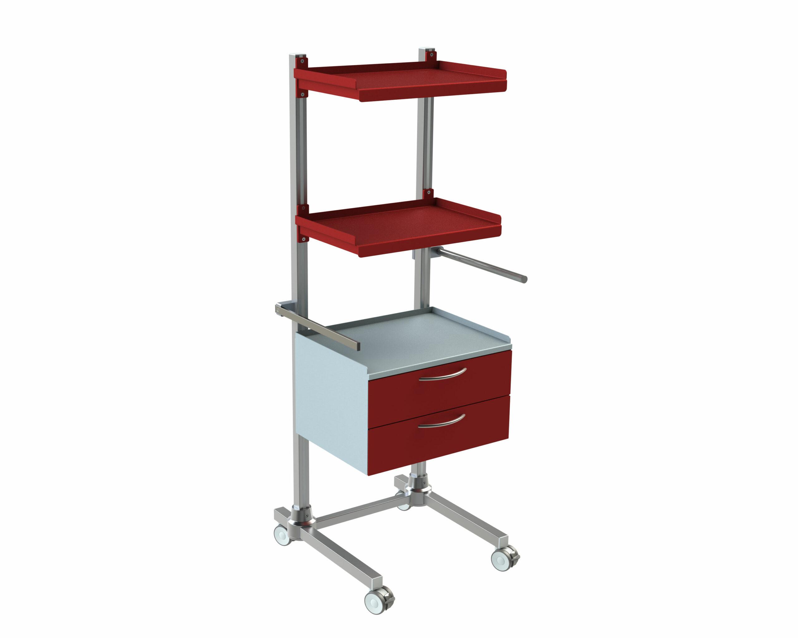 Hygienestation-Henry-2-Schubladen-Normschiene-Transportgriff-2-Arbeitsplatten-Reling