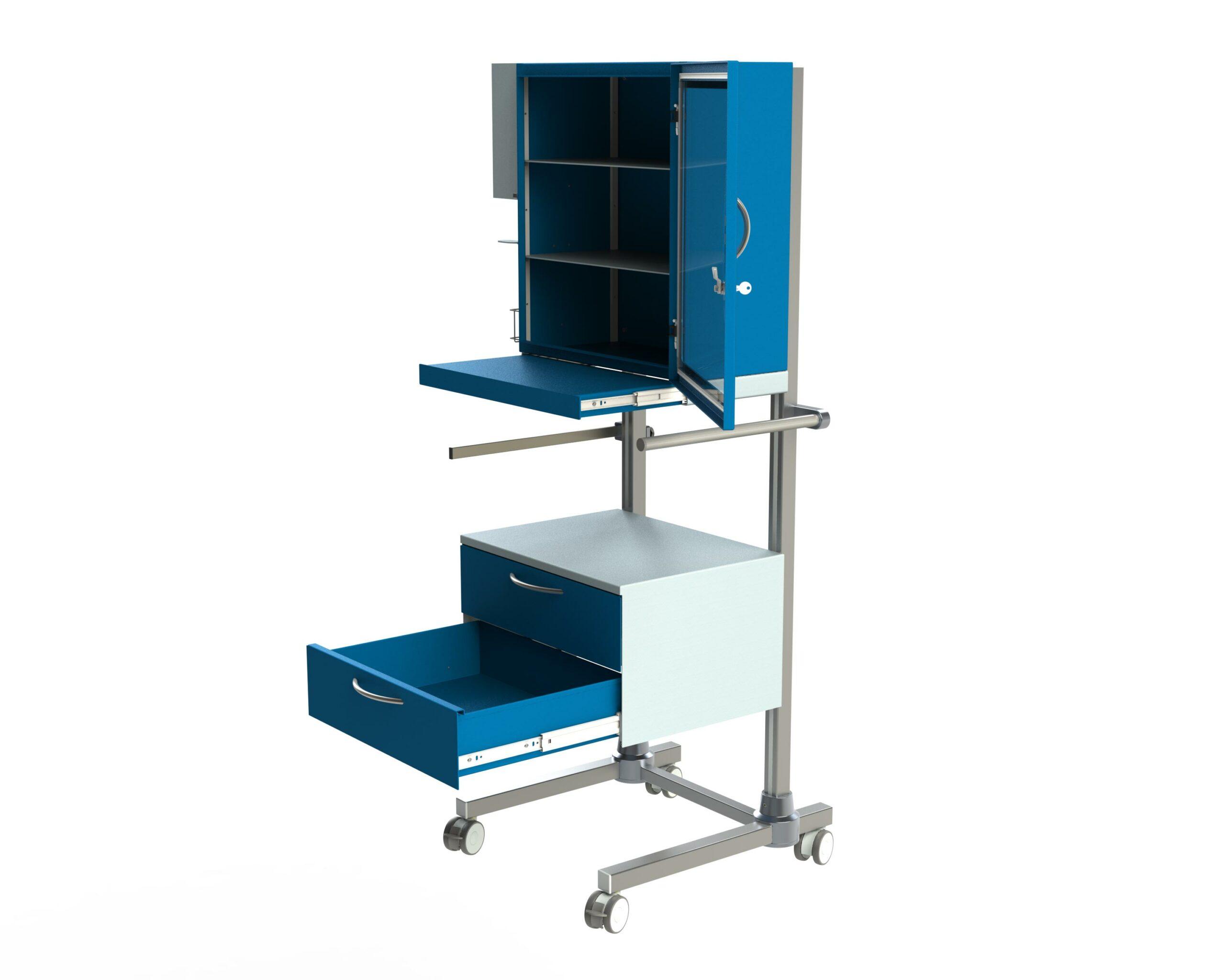 Hygienestation-Henry-Ausziehplatte-vorne-blau